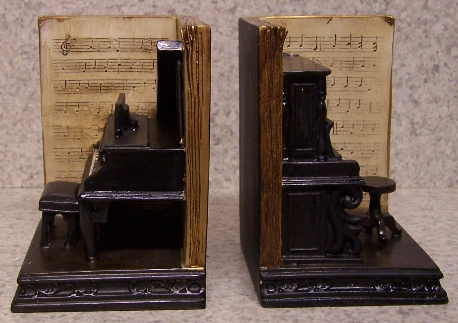 Bookends memories of youth music piano practice pair book ends nib ebay - Piano bookends ...